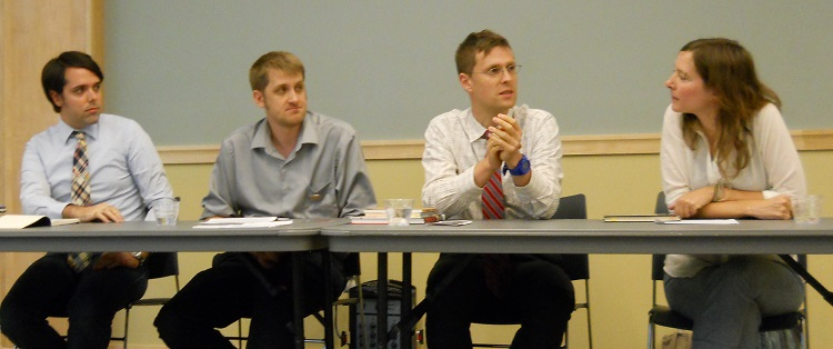 Ben Bolling, Will Hansen, Kirill Tolypgo and Sara Appel discuss the place of comics in the university setting, 2012.